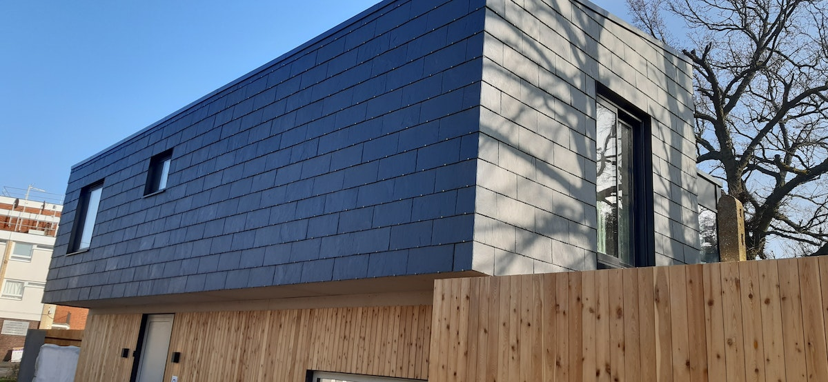 Image of Cupaclad slate cladding on Brent Fence House